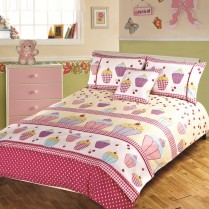 5pc Cupcake Design Bed in a Bag Bedding DUVET QUILT COVER SET + CUSHION COVER + BED RUNNER