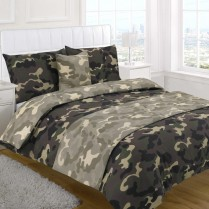 5pc Army Camouflage Design Bed in a Bag Bedding DUVET QUILT COVER SET + CUSHION COVER + BED RUNNER