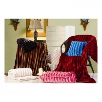 Fuchsia Pink Ribbed Faux Fur Throw