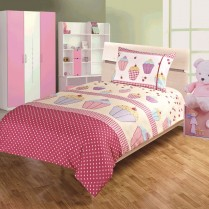 Children's Kids CUPCAKE DESIGN DUVET COVER AND PILLOWCASE SET By Viceroybedding