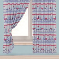 Children's Kids Pair of SAILING BOAT DESIGN CURTAINS With Matching Tie Backs By Viceroybedding