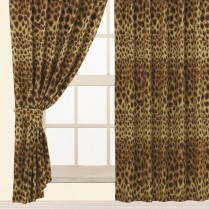 Children's Kids Pair of LEOPARD DESIGN CURTAINS With Matching Tie Backs By Viceroybedding