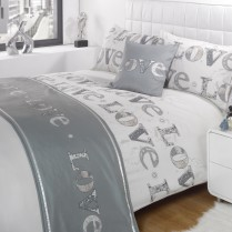 5pc Love Silver Design Bed in a Bag Bedding DUVET QUILT COVER SET + CUSHION COVER + BED RUNNER