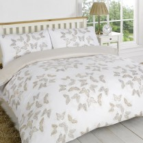 Stephanie BUTTERFLY Gold / Beige Reversible Duvet Cover and Pillowcases Set