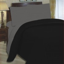 6pc Reversible Complete Black / Grey Duvet Cover and Fitted Sheet Bed Set