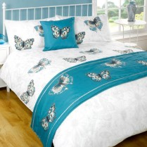 5pc Botanic Teal Design Bed in a Bag Bedding DUVET QUILT COVER SET + CUSHION COVER + BED RUNNER