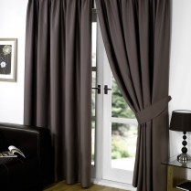 Pair of Chocolate Brown Supersoft Blackout Thermal Curtains Pencil Pleat *inc Tiebacks