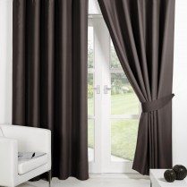 Pair of Chocolate Brown Supersoft Blackout Thermal Curtains Ring Top / Eyelet *inc Tiebacks
