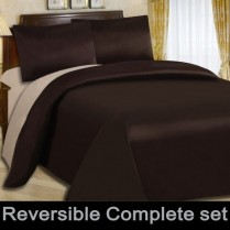 Reversible Chocolate Brown / Latte Duvet Cover Set