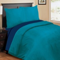 Reversible Patrol Blue / Navy Blue Duvet Cover Set