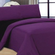 6pc Reversible Complete Blackcurrant / Black  Duvet Cover and Fitted Sheet Bed Set
