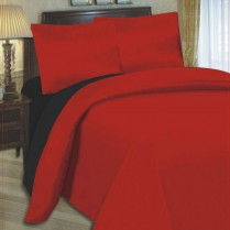 6pc Reversible Complete Black / Red Duvet Cover and Fitted Sheet Bed Set