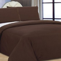 6pc Reversible Complete Chocolate Brown / Cream Duvet Cover and Fitted Sheet Bed Set