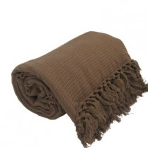100% Cotton Chocolate Brown HONEYCOMB WAFFLE SOFA / SETTEE / BED THROW With Tasselled Edging