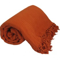 100% Cotton Terracotta Orange HONEYCOMB WAFFLE SOFA / SETTEE / BED THROW With Tasselled Edging