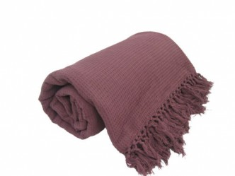 Bed Throws in 5 Sizes 100/% Cotton Sofa Throws Waffle Burgundy Honeycomb