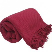 100% Cotton Burgundy Wine HONEYCOMB WAFFLE SOFA / SETTEE / BED THROW With Tasselled Edging
