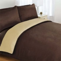 6pc Reversible Complete Chocolate Brown / Latte Duvet Cover and Fitted Sheet Bed Set