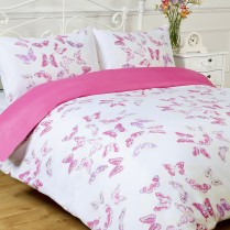 Stephanie BUTTERFLY Pink / White Reversible Duvet Cover and Pillowcases Set