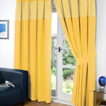 Yellow Pencil Pleat Gingham Curtains