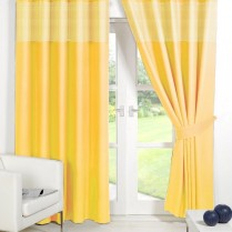 Yellow Eyelet Gingham Curtains