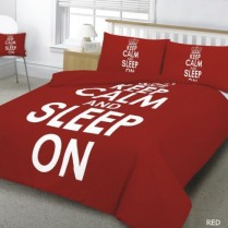 KEEP CALM Red Duvet Cover Pillow Case Bed Set