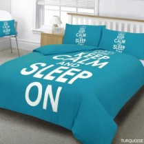 KEEP CALM Turquoise Duvet Cover Pillow Case Bed Set