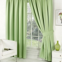 Pair of Sage Green Supersoft Blackout Thermal Curtains Pencil Pleat *inc Tiebacks