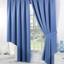 Pair of Duck Egg Blue Supersoft Blackout Thermal Curtains Pencil Pleat *inc Tiebacks