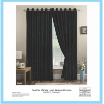 Pair of Black Eyelet / Ring Top - Fully Lined Jacquard Swirl Curtains + Tie Backs