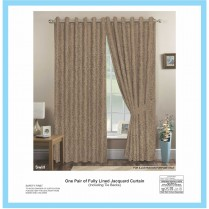 Pair of Mocca Eyelet / Ring Top - Fully Lined Jacquard Swirl Curtains + Tie Backs