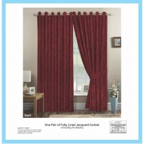 Pair of Wine Eyelet / Ring Top - Fully Lined Jacquard Swirl Curtains + Tie Backs