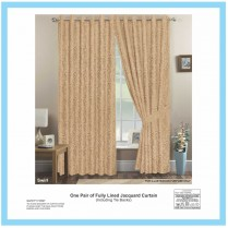 Pair of Coffee Eyelet / Ring Top - Fully Lined Jacquard Swirl Curtains + Tie Backs