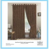 Pair of Chocolate Brown Eyelet / Ring Top - Fully Lined Jacquard Swirl Curtains + Tie Backs