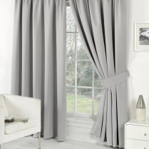 Pair of Silver Supersoft Blackout Thermal Curtains Pencil Pleat *inc Tiebacks