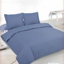 Luxury 180 Thread Count Gingham Check Bed Set Blue Duvet Cover + Pillowcases