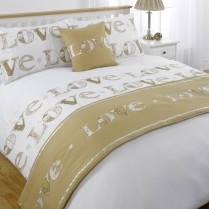 5pc Love Gold Design Bed in a Bag Bedding DUVET QUILT COVER SET + CUSHION COVER + BED RUNNER