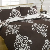 Savoy Chocolate Brown / White Duvet Quilt Cover & Pillow Cases Bedding Set