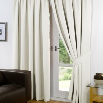 Pair of Cream Supersoft Blackout Thermal Curtains Pencil Pleat *inc Tiebacks