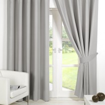 Pair of Silver Supersoft Blackout Thermal Curtains Ring Top / Eyelet *inc Tiebacks