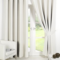 Pair of Cream Supersoft Blackout Thermal Curtains Ring Top / Eyelet *inc Tiebacks