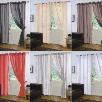 Pair of Plain Voile EYELET / RING TOP Curtain Panels + Free Tiebacks