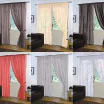 Pair of Plain Voile SLOT TOP Curtain Panels + Free Tiebacks
