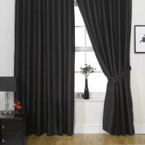 Pair of Black Faux Silk Eyelet Curtains