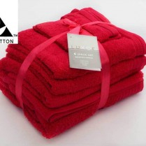 Red 6 Piece 650gsm Egyptian Cotton Towel Bale